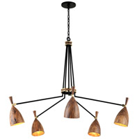 Corbett Lighting 280-05 Utopia LED 51 inch Satin Black and Polished Brass Chandelier Ceiling Light