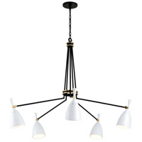 Corbett Lighting 281-05 Utopia LED 51 inch Satin Black and Polished Brass Chandelier Ceiling Light