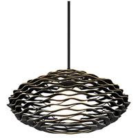 Corbett Lighting 283-41 Luma 1 Light 30 inch Textured Black with Gold Leaf Highlight Pendant Ceiling Light