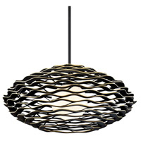 Corbett Lighting 283-43 Luma 1 Light 50 inch Textured Black with Gold Leaf Highlight Pendant Ceiling Light