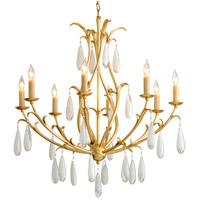 Corbett Lighting 293-08 Prosecco 8 Light 35 inch Gold Leaf Chandelier Ceiling Light