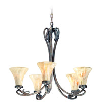 ARABESQUE 5 Light 27 inch AUBURN SILVER CHANDELIER Ceiling Light