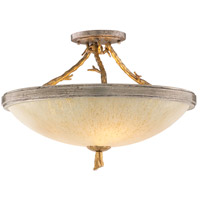 Parc Royale 3 Light 19 inch Gold And Silver Leaf Semi-Flush Ceiling Light
