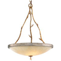 Parc Royale 4 Light 25 inch Gold And Silver Leaf Pendant Ceiling Light