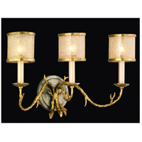 Parc Royale 3 Light 22 inch Gold And Silver Leaf Bath Wall Light