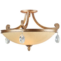 Roma 3 Light 22 inch Antique Roman Silver Semi-Flush Ceiling Light