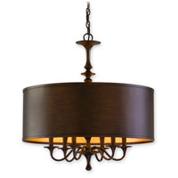 Corbett Lighting Bryant Park 6 Light Chandelier in Regent Bronze with Gold Leaf 80-06