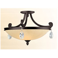 Roma 3 Light 22 inch Classic Bronze Semi-Flush Ceiling Light
