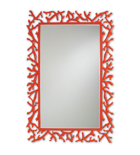 Currey & Company Corail Mirror in Red 1084 photo