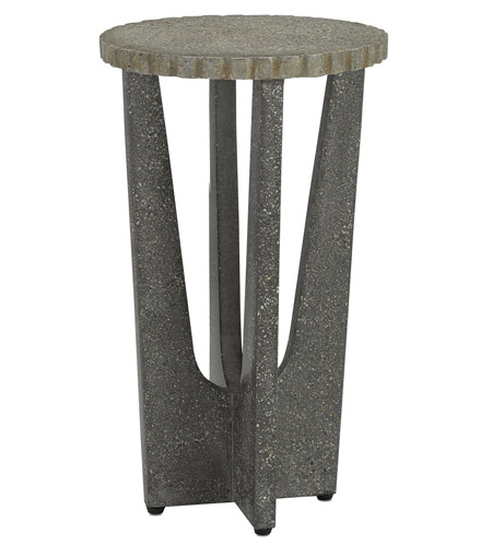 Currey & Company 2000-0014 Warner 13 inch Pebbled and Gray Pebbled Polished Concrete Outdoor Drinks Table photo