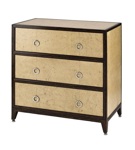 Currey & Company Malthus Three Drawer Chest in Aged Parchment/Reclaimed Mahogony 3024 photo