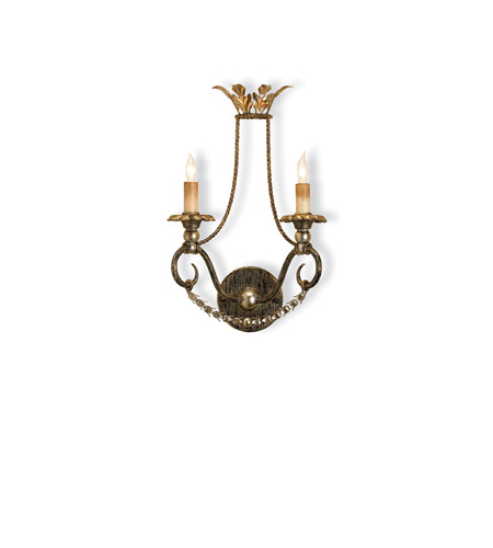 Currey & Company 5010 Anise 2 Light 11 inch Barcelona Gold/Gold Leaf/Silver Wall Sconce Wall Light photo