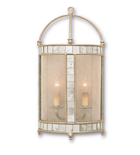 Currey & Company Corsica 2 Light Wall Sconce in Harlow Silver Leaf 5032 photo