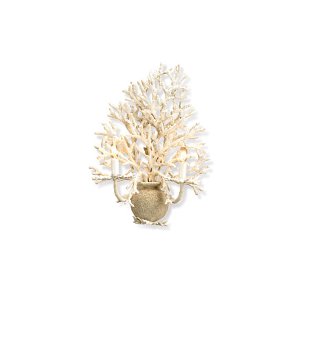 Currey & Company Seaward 2 Light Wall Sconce in White Coral/ Natural Sand 5035 photo