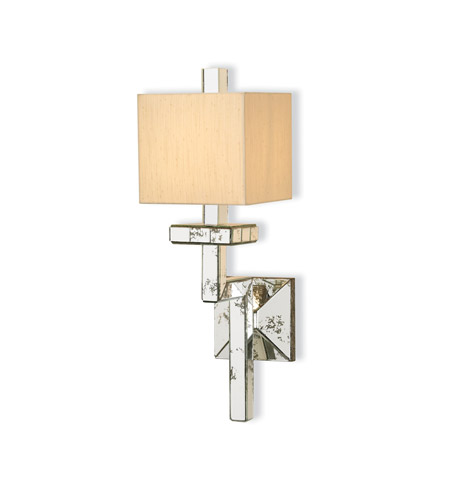 Currey & Company Eclipse 1 Light Wall Sconce in Viejo Silver Leaf 5039 photo