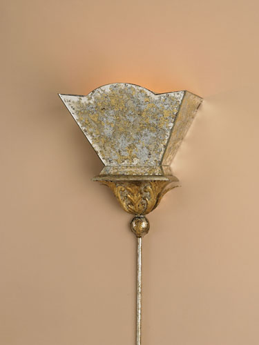 Currey & Company Moontide 1 Light Wall Sconce in Gold Leaf/Majestic Silver Leaf 5043 photo