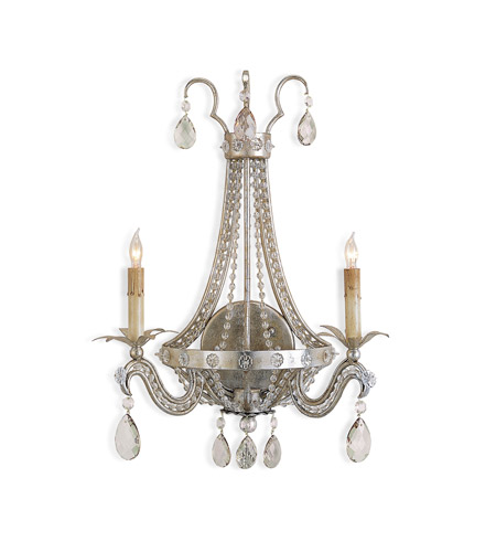 Currey & Company Chartres 2 Light Wall Sconce in Silver Leaf 5780 photo
