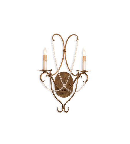 Currey & Company 5880 Crystal Lights 2 Light 14 inch Rhine Gold Wall Sconce Wall Light photo
