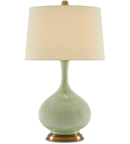 Currey & Company 6000-0218 Cait 30 inch 150 watt Grass Green and Antique Brass Table Lamp Portable Light photo thumbnail