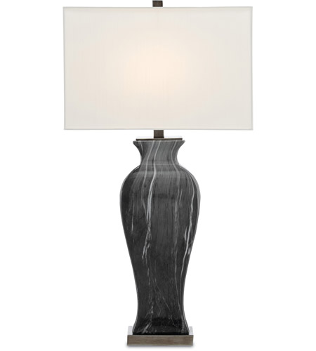 Nickel and Black Marble Table Lamps