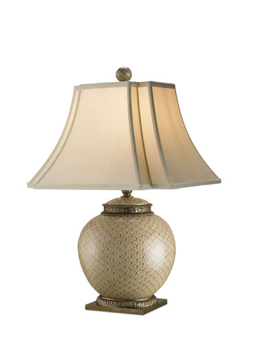 Currey & Company Secret 1 Light Table Lamp in Beige/ Green/ Brass 6081 photo