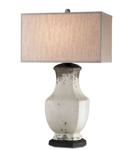 Currey & Company Amedeo 1 Light Table Lamp in Ancient White/Natural Rust 6106 photo