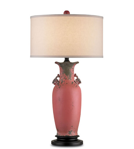 Currey & Company Roxana 1 Light Table Lamp in Ancient Camellia/Black 6120 photo