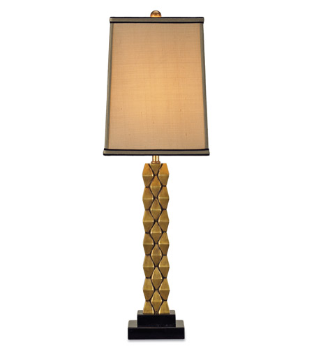 Currey & Company Debonair 1 Light Table Lamp in Antique Brass/Black 6142 photo