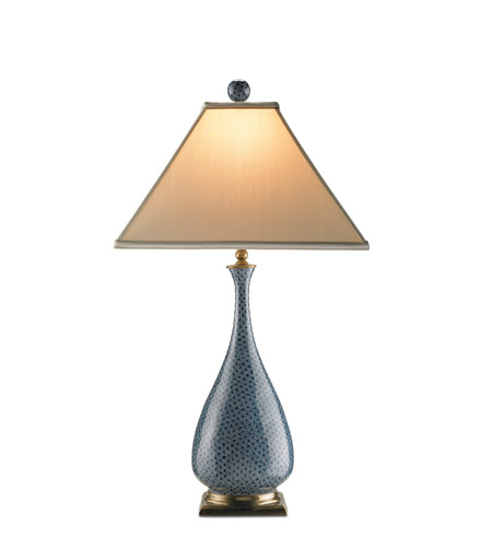 Currey & Company Courtship 1 Light Table Lamp in Blue/ Black/ Brass 6159 photo