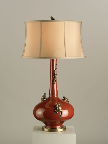 Currey & Company Chameleon 1 Light Table Lamp in Red/Antique Brass 6327 photo