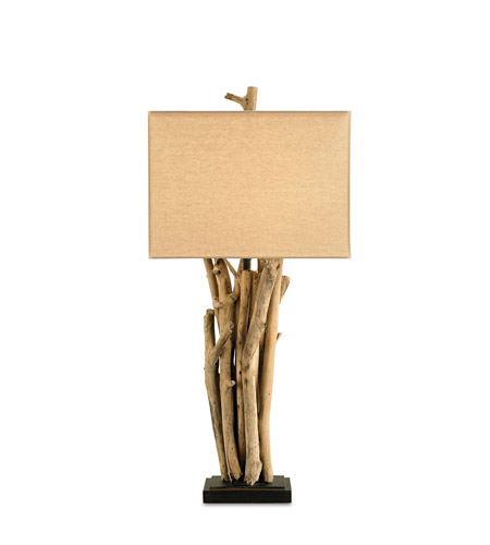 Currey & Company 6344 Driftwood 33 inch 150 watt Natural Wood/Old Iron Table Lamp Portable Light photo