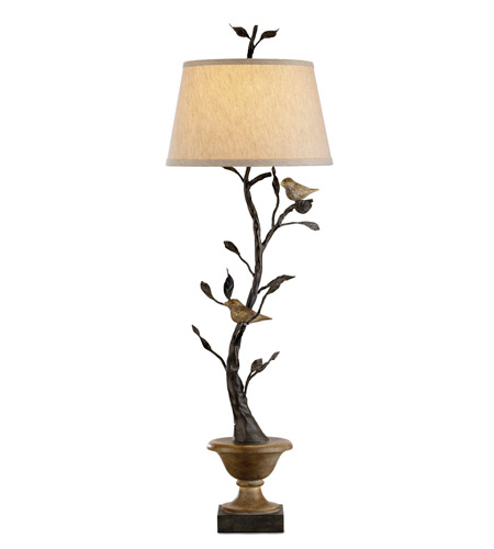Currey & Company Mulberry 1 Light Table Lamp in Old Bronze/Rustic Wood 6353 photo