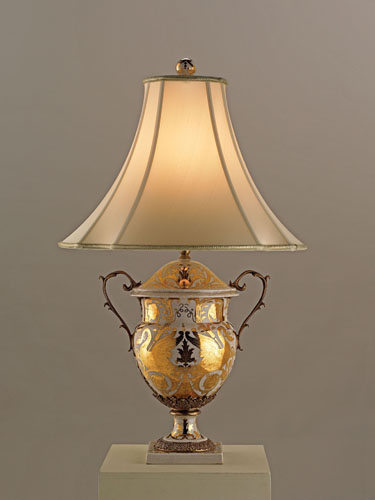 Currey & Company Tzarina 1 Light Table Lamp in Antique White And Gold Porcelain 6410 photo