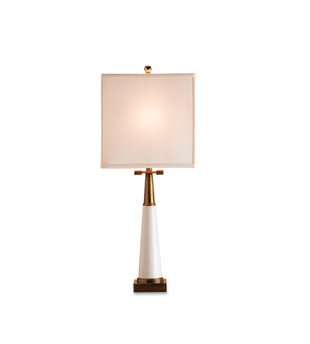 Currey & Company 6442 Signature 30 inch 100 watt White/Antique Brass Table Lamp Portable Light photo