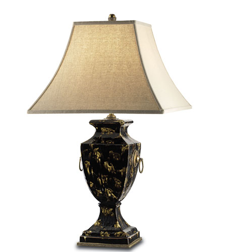 Currey & Company Desmond 1 Light Table Lamp in Black Tortoise/Brass 6489 photo