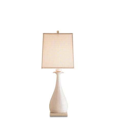 Currey & Company Ella 1 Light Table Lamp in White 6525 photo