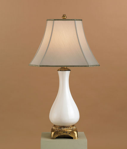 Currey & Company Chastity 1 Light Table Lamp in Antique White Crackle 6620 photo