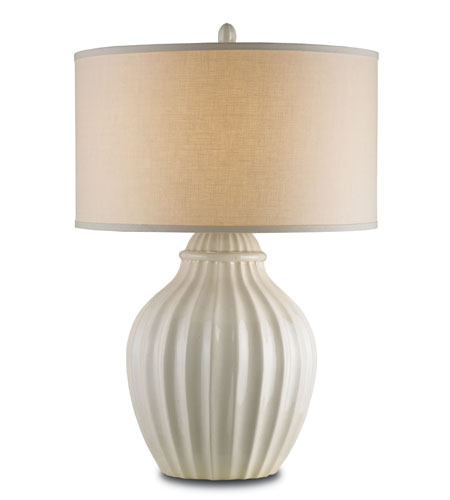 Currey & Company Jester 1 Light Table Lamp in White Crackle 6627 photo