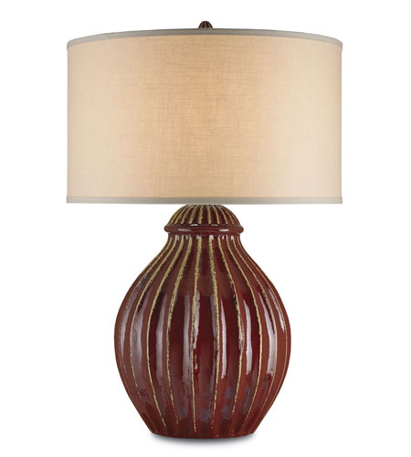 Currey & Company Jester 1 Light Table Lamp in Red 6628 photo