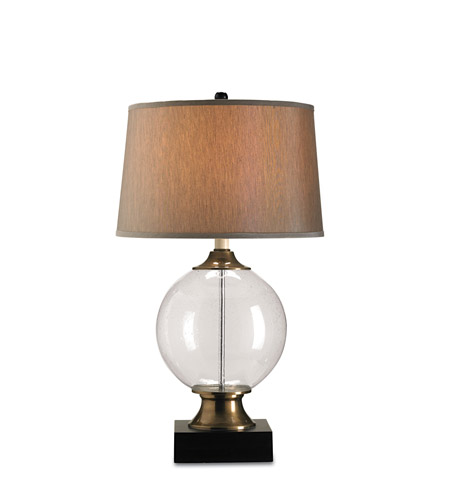 Currey & Company Motif 1 Light Table Lamp in Blown Glass/Black 6981 photo