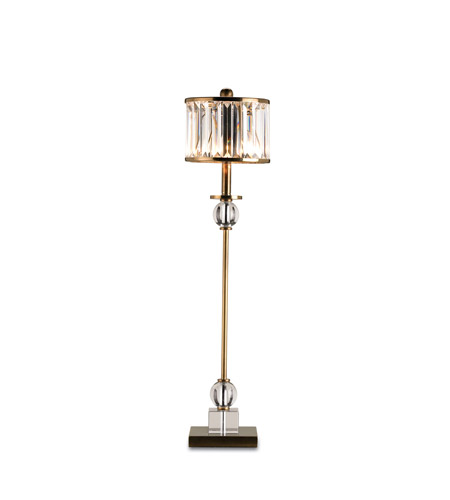 Currey & Company Parfait 1 Light Table Lamp in Crystal/Antique Brass 6986 photo