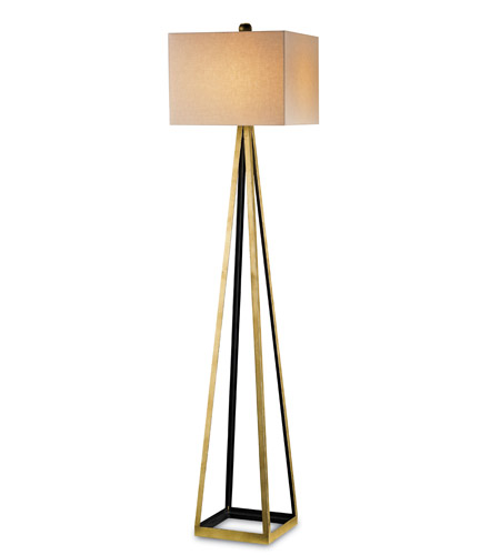 Currey & Company 8049 Bel Mondo 70 inch 150 watt Contemporary Gold Leaf and Satin Black Floor Lamp Portable Light photo