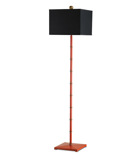 Currey & Company Manfred 1 Light Floor Lamp in Antique Lollipop Red and Gold Leaf 8056 photo