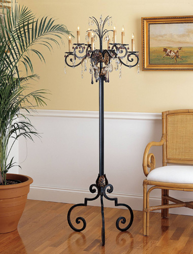 Currey & Company Hampton 8 Light Floor Candelabra in Zanzibar/Gold Leaf 8551 photo