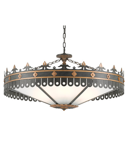 Currey & Company 9000-0181 Berkeley 6 Light 40 inch Antique Gold and Moss Gray Chandelier Ceiling Light  photo