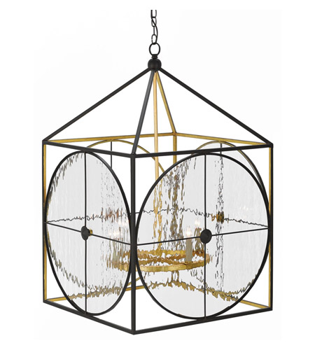 Currey & Company 9000-0205 Sagamore 4 Light 25 inch Satin Black and Contemporary Gold Lantern Ceiling Light  photo