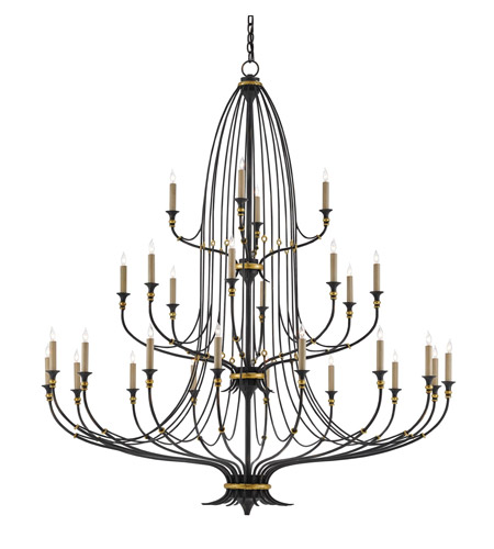 Currey & Company 9000-0213 Folgate 28 Light 57 inch French Black With Gold Leaf Accents Chandelier Ceiling Light photo thumbnail