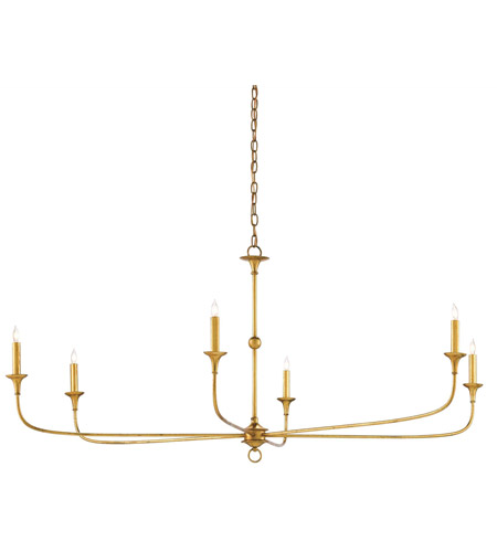 Currey Company 9000 0370 Nottaway 6 Light 61 Inch Contemporary Gold Leaf Chandelier Ceiling