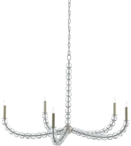 Currey & Company Silver Leaf Glass Chandeliers