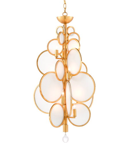 Contemporary Gold Leaf Glass Chandeliers